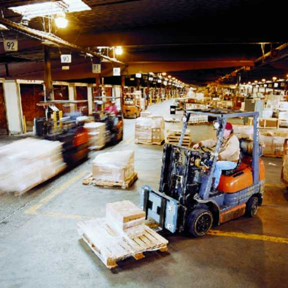 lift-truck in warehouse