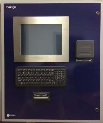tPanel for use with unattended scale operation. This panel features an operator termninal, keyboard, RFID card reader, and ticket printer.  The tPanel is configurable for other options.